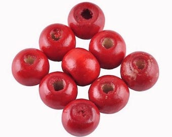 30 wooden Red 8 mm round beads