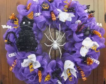 Halloween Wreath with a Black Cat, Spider in a Web, Halloween Ribbon and Glitter Spirals-Halloween Deco Mesh Wreath