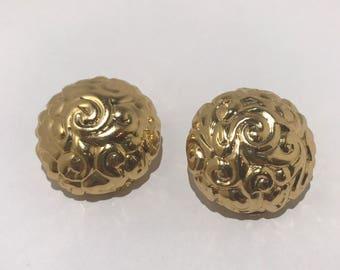 YSL vintage clip earrings. Yves saint Laurent designer french 1980
