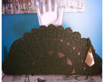 40's Chocolate Satin Rayon Crochet Clutch Evening Bag Lucite Zip Pull
