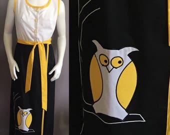 1970's VINTAGE maxi Park East OWL Dress