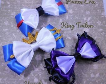 Prince Eric, King Triton, and Ursula Hair Bows