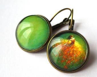 Stud Earrings - Fairy - dancing in fairy dust - green cabochon