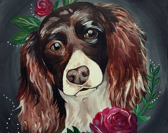 Floral Pet Portrait with flowers acrylic pet dog cat painting Personalized New School Old School Tattoo Style Bright Colorful
