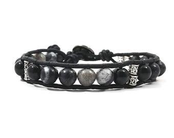 Smokin' Black~ Handmade Single Wrap Bracelet~ Genuine Black Onyx & Picasso Jasper~ Sterling Silver Button~ Adjustable~ For Men or Women
