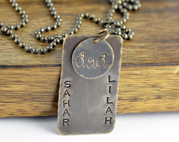 Gifts for Dad, Dad Gifts, Mens Dog Tag Necklace, Hand Stamped Necklace, Rustic Necklace, Fathers Day Gift, Mens Necklace, Mens Jewelry