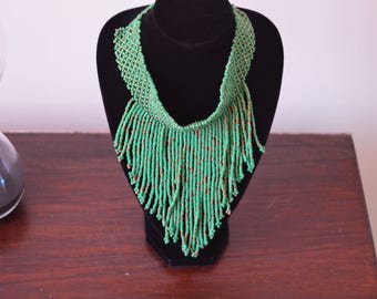 African Maasai Beaded Necklace |  African Beaded Necklace | Tribal Jewelry | Green Necklace | Gift For Her