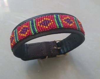 African Maasai Beaded Dog Collar   Dog Collar   Beaded Collar   Pet Collar   Cat Collar   Elegant Collar   Leather Dog Collar   Pet Gift
