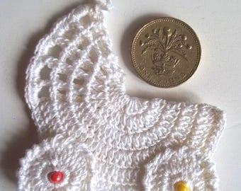 Crochet white pushchair
