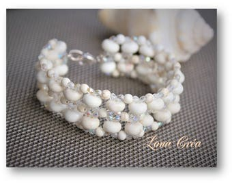 Beige Magnesite gemstone Cuff Bracelet