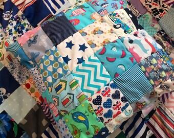 Beautiful blue boy themed patchwork cushion//gift//home decor