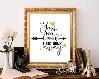 Your first breath artwork, PRINTABLE art, Wall art, Lettering, Home decor, Fashion print, Trendy wall art,Wall prints, Nursery printable art