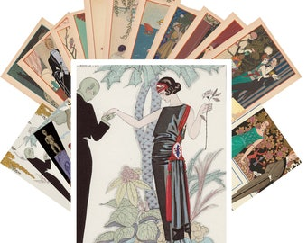 Postcard Pack (24 cards) George Barbier Ponchoir Art Deco La Vie Parisien vol 1 CC1052