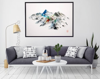 Contemporary Living Room Artwork Large Wall Art Poster Wilderness Poster  Mountain Photography Snow Landscape Peaks Modern Part 62