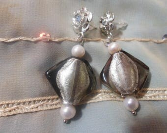 Silver earrings and the freshwater pearls
