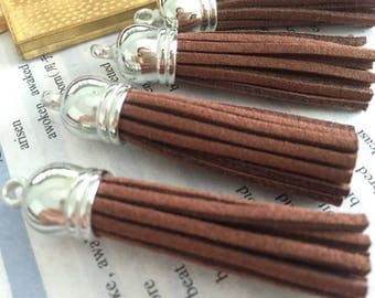 Set of 50 or 100pieces brown suede leather silver plastic caps ear tassel --for length 65mm