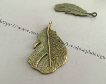 wholesale 20 Pieces /Lot Antique Bronze Plated 23mmx47mm leaf charms(#0262)