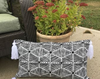 Black and white pillowcover with white handmade tassels