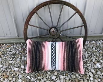 """Lumbar pillow cover made from vintage Mexican blanket, 26x16"""""""