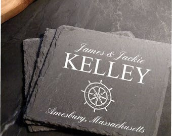 Engraved Personalized Ship's Wheel Slate Coaster Set