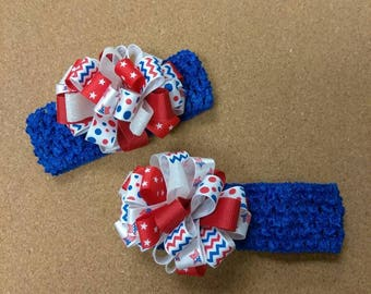 Patriotic loopy puff headband, infant puff ball headband, Red white and blue headband, Independence day hair accessories, pom pom bow