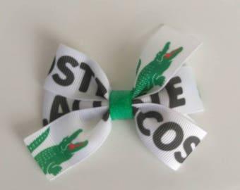 Designer inspired hair bow, Alligator hair bow, Lacoste inspired hair bow, Alligator hair bows, pigtail hair bows, baby headband