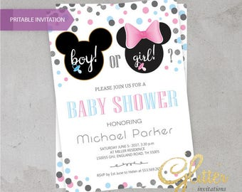 Minnie and Mickey baby Shower invitation,digital baby shower invitation, he or she, Boy or girl