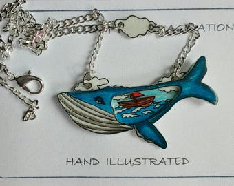 whale necklace pendant.Hand ilustrated necklace.pendant. silver 925.hand made.plastic .hand drawn.