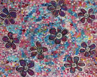 Pretty Flowers Girls Canvas ..... Original Acrylic Painting