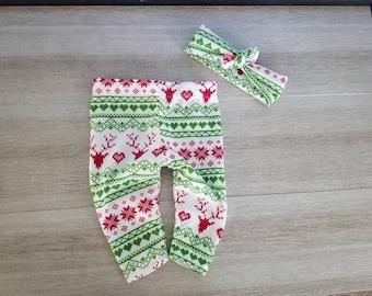 Baby girl Christmas leggings baby girl christmas outfit fair isle deer reindeer snowflake
