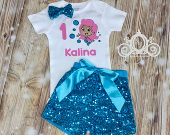 Bubble Guppies Molly Birthday Onesie Set Personalized w Name & Number
