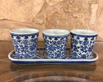 Ceramic Asian Inspired Planter Set