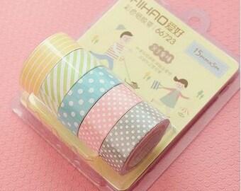 5 Washi Tape, Masking Tape, tape adhesive scrapbooking PASTEL