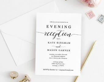 Printable Wedding Reception Invitation Template, Evening Reception Invite, DIY Formal Reception Card, Editable PDF, Modern #SPP007iiri