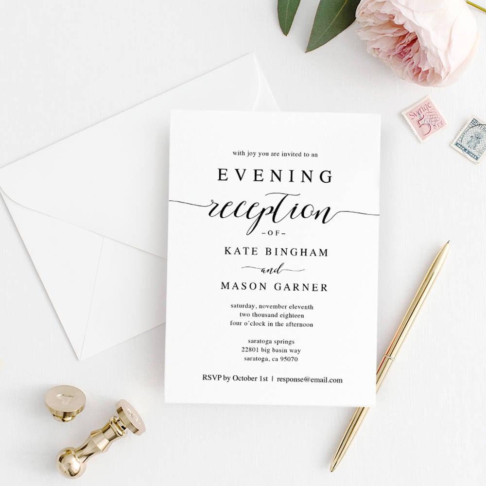 Printable Wedding Reception Invitation Template, Evening Reception ...