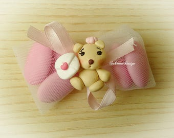 Bear favor, postcard and heart, polymer clay favors, baptism favors, baby shower favors, first birthday, teddy bear favors