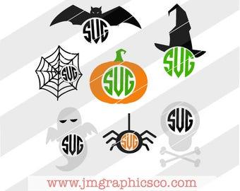 Halloween Monograms svg, dxf, png, cricut, cameo, scan N cut, cut file, Bat svg, Witch svg, Pumpkin svg, Ghost svg, Spider svg, Skull svg