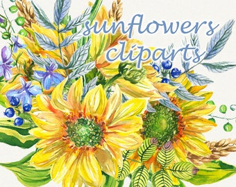 Sunflower clipart, sunflower watercolor clipart, floral elements, Watercolor, Botanical, Watercolor floral, Hand painted, Wedding invitation