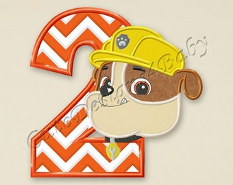 Paw Patrol Rubble Number 2 applique embroidery designs, Second birthday Machine Embroidery Designs, designs baby, Instant download #063