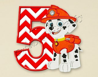 Paw Patrol Marshall Fifth birthday applique embroidery design, Paw Patrol Machine Embroidery Designs, designs baby, Instant download #076
