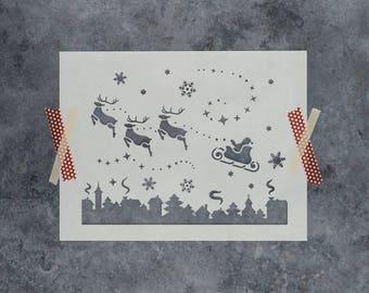 Santa Christmas Eve Stencil - Reusable DIY Craft Stencils of Santa Sleigh and Reindeer - Christmas Stencil Scene