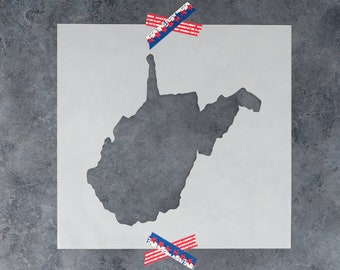 West Virginia State Stencil - Hand Drawn Reusable Mylar Stencil Template