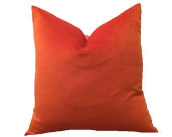 Tangerine Velvet Pillow Cover