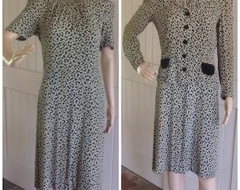 1940's/50's Silk Crepe and Velvet Dress Set .