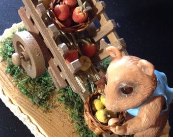 Criceto in polymer clay con carretto/Ooak polymer clay hamster with basket and barrow