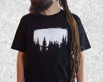 Sale - Imperfect Print - size M - Mens Trees Tshirt - Nature T shirt - Forest Tshirt - screen print t shirt - S / M / L / XL