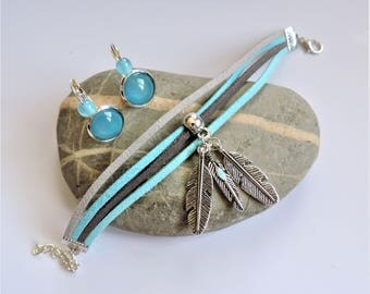 Suede ღbracelet ღ set and earrings ღ adornment feather charms