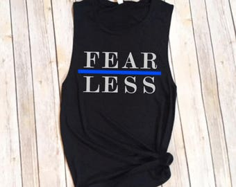 Thin Blue Line Fearless © Workout Muscle Tee | Thin Blue Line Gym Tank | Law Enforcement Gym Gear