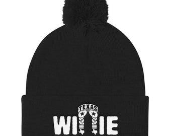 Willie Nelson Inspired Pom Pom Knit Cap Beanie