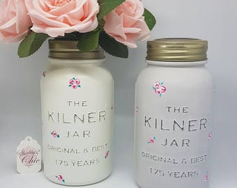 Hand Painted, Subtle grey and roses, Kilner 175 Year Anniversary Jar - Special Limited Edition Vase,Make up Brush holder. Home Accessories
